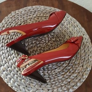 Cole Haan red patent sling back peep toe pumps 7.5